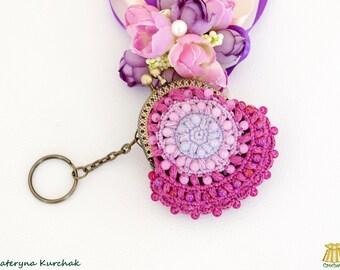 Mandala purse Purple coin bag Crochet wallet kiss lock Change purse Mandala purse wallet Beaded coin purse Boho wallet crochet