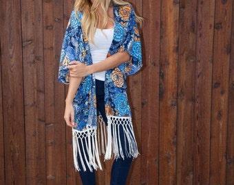 Fleur Nouveau - Kimono, boho kimono, beach poncho, summer poncho, kimono robe, womens poncho, gypsy kimono, beach cover up, beach wear,