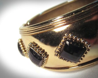Gold Tone Hinged Bangle with Black