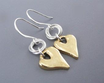 Heart Shaped Earrings, Gold Earrings for Women, Romantic Gifts for Her, Gold Heart Earrings, Nickel Free Earrings, Valentine Earrings