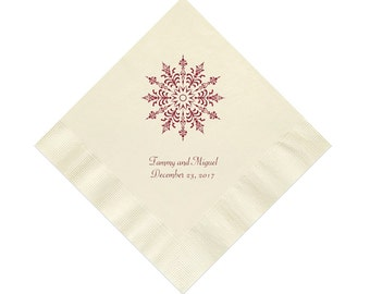 Snowflake Christmas Wedding Napkins Personalized Set of 100 Napkins Christmas Party Supplies