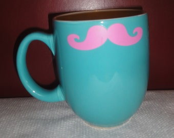 Vintage Turquoise With Pink Mustache Mug