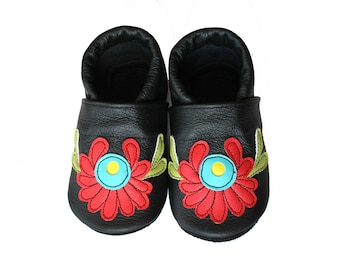 Leather Baby Booties, Hungarian Baby Shoes, Black Red Turquoise Infant Newborn Nursery Children