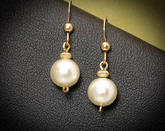 Pearl Gold Drop Earrings, Small Majorca White Pearl Earrings, Pearl Wedding Jewelry, Bridesmaid Pearl Jewelry