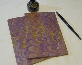 Purple,  gold and orange hand marbled paper hand sewn notebook