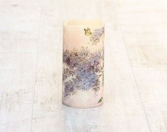 Flameless Lilac Flower Pillar Candle, Whimsical Battery Operated Candle, Garden Decoration, Birthday Gift For Grandma, Mothers Birthday Gift