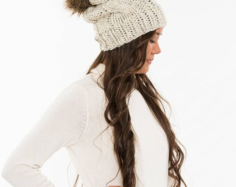 Super Slouchy Knit Cable Hat / Faux Fur Pom Wool Beanie, Ribbed Knitted Slouch Toque, Women's Handmade Winter Accessory / All Sizes / WHEAT