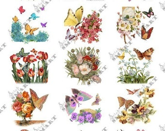 14 Butterflies with flowers. Beautiful vintage style on a Collage Sheet Digital Download - ST14BFV01