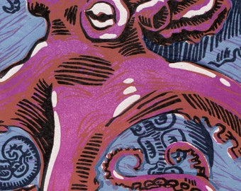Octopus in Reduction (Purple on Newsprint)