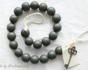 Gray Wood Bead Garland - Gray Ball Garland - Key to Decor Beads Gray Garland - Grey Wooden Bead Garland - Grey Wood Bead Garland