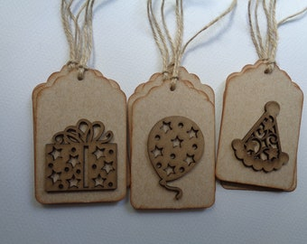 9 Happy Birthday Tags - 3D Birthday Tags - Balloons, Presents, Party Hats - Wooden Tags