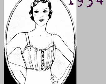 "Front closing Bra (Bust size 102cm/40"") - 1930's - Vintage Reproduction PDF Pattern -  made from original 1934 Pattern"