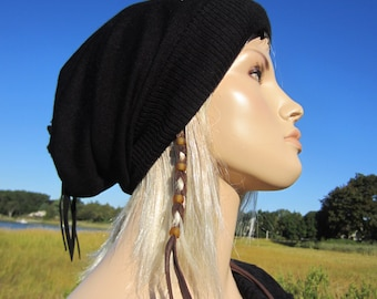 Bohemian Clothes Black Slouchy Beanie Hat Merino Wool Blend Ladies Tams A1524