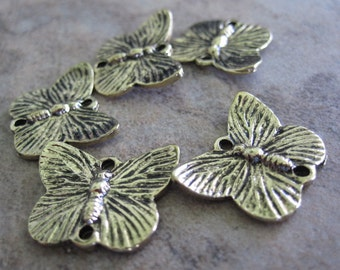 5 Antiqued Gold-Plated Pewter Links, 18x14mm Single-Sided Butterfly - JD49