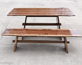 Live Edge Walnut Dining Table with Bench Nakashima Table Rustic Dining Table Table and Bench Set Natural Edge Dining Table Rustic Dining