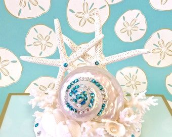 Beach Wedding Cake Topper with Starfish, Pearl Turbo Shell and Turquoise and Clear Swarovski Crystals