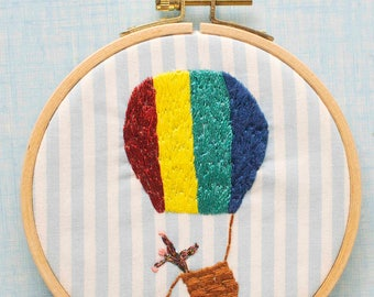 Embroidered drum Accident of hot air balloon / / decor / / unusual / / gift idea