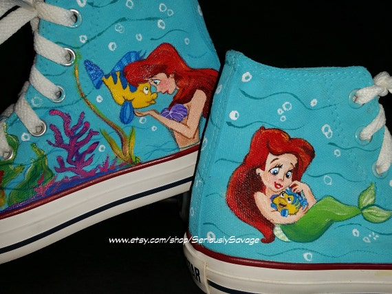 Little Mermaid Custom Painted Converse Shoes. Converse 080bbc4f8