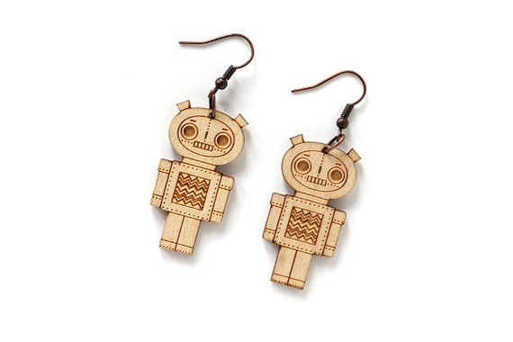 Robot earrings - lasercut maple wood - geek earrings - robot jewelry - jewellery - lasercutting
