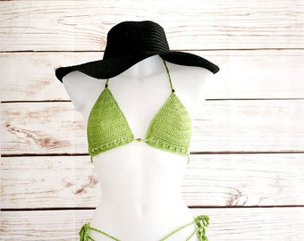 Sexy Crochet bikini set in green, Bathing suit women, Crochet bikini set, Crochet swimsuit, Crochet bikini top, , Tong bikini, Boho bikini
