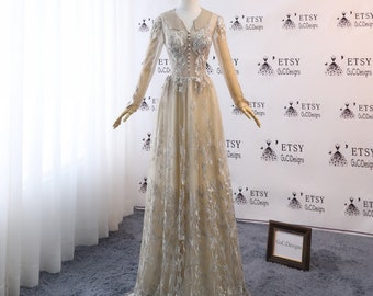 2018 Women Formal Evening Prom Dresses Tulle Embroidery Unique Khaki Gold Top Blouse Design Front Button Long Sleeve Special Occasion Dress