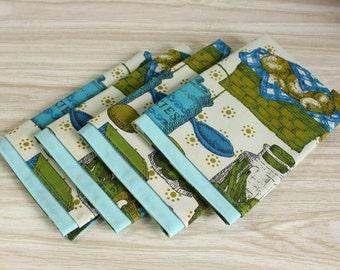 Stoff-Servietten-Satz von 4 Retro blau-grün-Küche Druck Vintage Bettwäsche