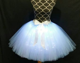 BABY blue & White LED tutu** Halloween Orders Available **/ Children to adult Tutu costumes/ Light up tulle skirts (33 colors available)