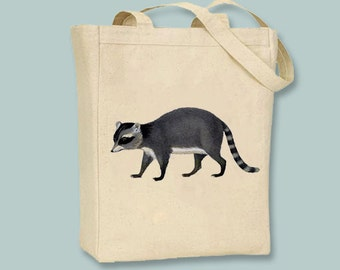 Gorgeous Vintage Raccoon NATURAL or BLACK Canvas tote  - Selection of sizes