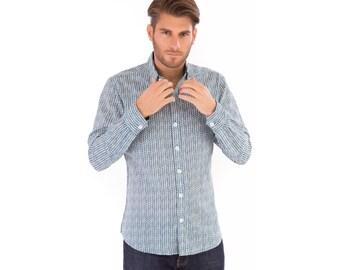 Mens 100% Cotton Long Sleeve Slim Fit Shirt Green White Chevron Print