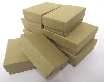 Kraft Boxes - 20 count (2 x 1.5 x .75 in) Cotton Filled Jewelry Boxes