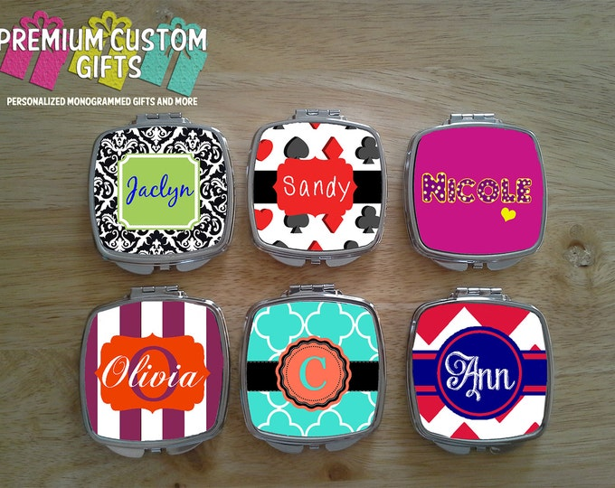 Set Of 6 Monogram Personalized Compact Mirrors. Great Gift For Bachelorette Party, Wedding Party, Mother's Day, Graduation Gifts Design#C103
