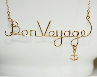 Wire Word Art * Travel Jewelry * Anchor Necklace * Wire Words * Anchor Jewelry * Travel Necklace * Journey Jewelry * Journey Necklace