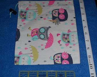 Rainy Owls Handmade Drawstring Bag