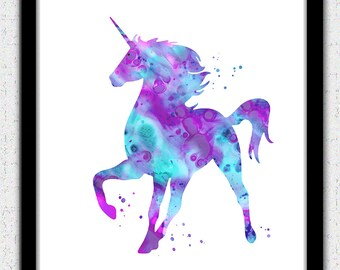 Unicorn printable art, unicorn Digital Download, unicorn print, unicorn instant download, nursery art, pink unicorn print, pink purple aqua