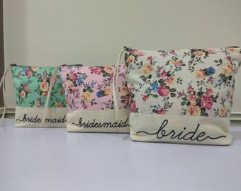 Floral Cosmetic Bags, Make up Personalized Cosmetic Bag, Bridesmaids gifts, Bridal Party gift, Monogrammed Bags, Bridesmaids Make up Bags