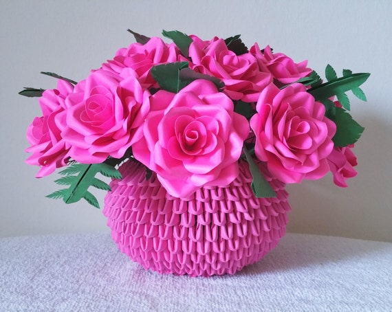 Paper rose centerpiece flower arrangement 3d origami vase mightylinksfo