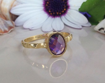 20% off-SALE!!!  Amethyst Ring - February Ring  - Oval Ring - Hammered Ring - Gold Ring - Purple Ring - Stacking Ring - Gemstone Ring