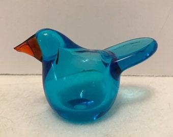 SALE - O. Toikka Nuutajarvi Blue Glass Bird
