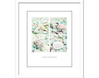 Beach Glass Photo - Starfish Photo - Minimalist Photo - Shell - Poster - Glass - Fine Art Photography Print - Green Blue White Modern Decor