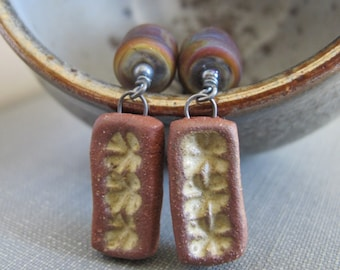 Ceramic Earrings, Silver Earrings, Lampwork Glass, Glass Earrings, Clay Earrings, Reddish Brown, Sterling Silver