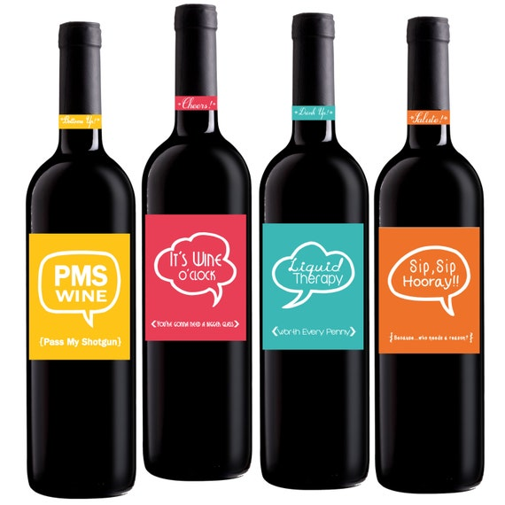 Printable Wine Bottle Labels: Funny Wine Labels Set Of 4 4x5 Inch Party Wine Labels