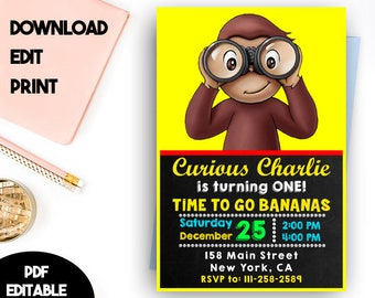 Curious George Birthday Invitation, Curious George Birthday, Curious George PDF Editable Template, Curious George PDF Instant Download