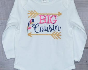 Personalized Big Little Middle Cousin with Arrows and Feathers Applique Shirt or Bodysuit Girl or Boy