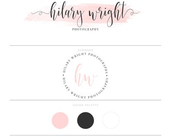 Photography Logo Watercolor Logo Design Branding Package Watermark Pink Logo Lash Logo Eyelash Logo Doula Logo Real Estate Logo Realtor Logo