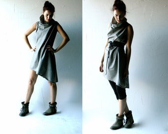Tunic dress, wool dress, Grey dress, Winter dress, Cowl dress, Shift dress, Maternity clothes, Aline dress, Plus size dress, Winter clothing