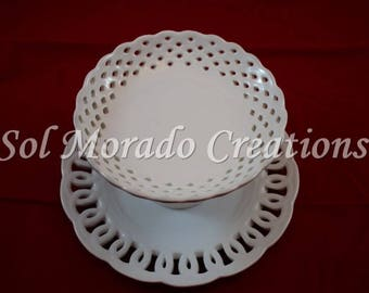White two tiered jewelry dish/ ring dish