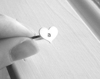 Initial Ring, Heart Shaped Initial Ring, Sterling Silver Heart Ring, Letter Ring, Stamped Ring, Stacking Ring, Monogram Ring