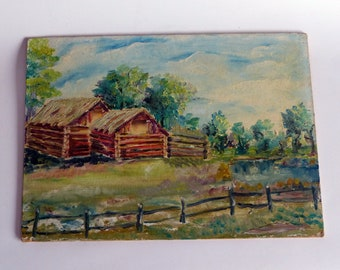 Vintage Oil Painting On Board Log Cabin By The Lake