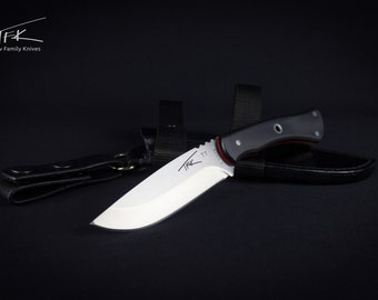 Knife fixed blade D2 tool steel, handle G10, leather pouch sheath, TFK-T7-BR-pouch