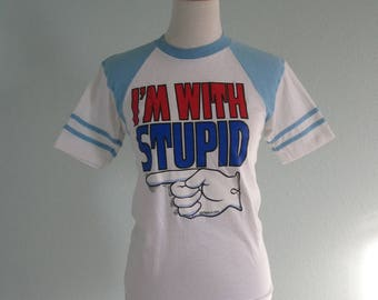 Vintage 70s T-Shirt - Vintage Tee I'm With Stupid Roach Iron-On 1975 - Kitschy 70s Ringer Tee - Vintage 1970s T-Shirt XS S